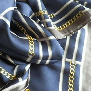 1000円ポッキリ スカーフ スカーフ柄 チェック&チェーン柄  シンプル ネイビー 訳あり商品 大特価
