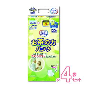 【介護用品】エルモア いちばんお茶の力パンツ M-Lサイズ 20枚×4袋 [カミ商事] 【5500円以上購入で送料無料】