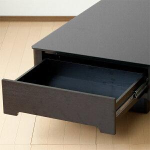 収納付きガラストップデーブルArly-bk(長方形タイプ)