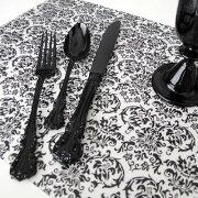 プレースマット ダマスク ブラック モノトーン デザイン ランチョン シンプル ストライプ テーブルクロス