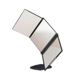 3WAY回転三面鏡 MX-360ZS ブラック/ホワイト送料無料 鏡 三面鏡 ドレッサー 卓上 メイク スタンド付き 360度回転