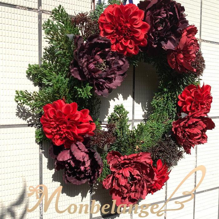 リース・シャクヤク アーティフィシャルフラワー クリスマス リース プレゼント インテリア ヒバ 木