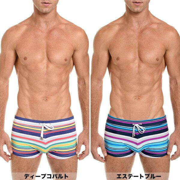 2xistツーイグジストメンズ水着ショートボクサートランクスレトロストライプCABOSWIMTRUNKS膝上ボクサーパンツ男性水着ビーチウェア海パンスイムウェアプールご返品不可