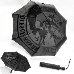 送料無料 【DIESEL ディーゼル】 折りたたみ傘 ワンタッチ ジャンプ傘 テフロン 撥水加工 ≪ブラック AMBRELLA UMBRELLA≫ メンズ