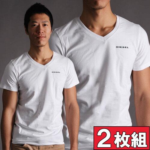 DIESEL ディーゼル VネックTシャツ 半袖 お得な2枚組み UMTEE-MICHAEL 2PACK 半袖Tシャツ メンズ ...