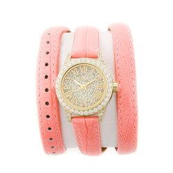 大人気FACEAWARDフェイスアワード腕時計watchSWAROVSKIスワロフスキーキュービックジルコニアレザーブレスレットライトイエローゴールドケースウォッチFA006S2Grace-PLG/LG/LPL本革ベルト女子に人気アクセサリーカジュアルプレゼントに高級感