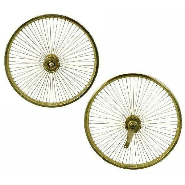 72スポーク デイトン ホイール 前後セット ゴールド 20インチ 自転車部品 ローライダー 自転車 パーツ ビーチクルーザー アクセサリー カスタム 部品 改造 BMX MTB GRQ  サイクルパーツ Schwinn シュウィン スティングレー エレクトラ レインボー コンプトン