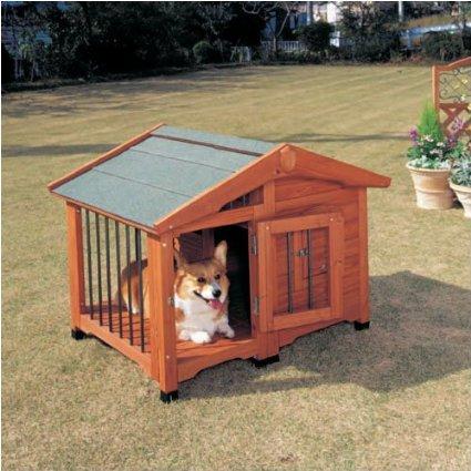 夏はサークル部で涼しく、冬は犬舎部で暖かくサークル犬舎
