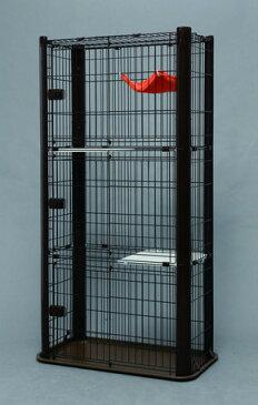 愛猫の飼育に適した高さのある3段タイプのケージ ブラウン