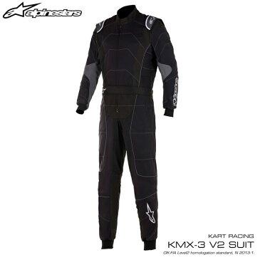 2020NEWモデル アルパインスターズ KMX-3 v2 SUIT ブラック×アンスラサイト (104) レーシングスーツ レーシングカート・走行会用 CIK FIA N/2013-1公認 (3351520-104)