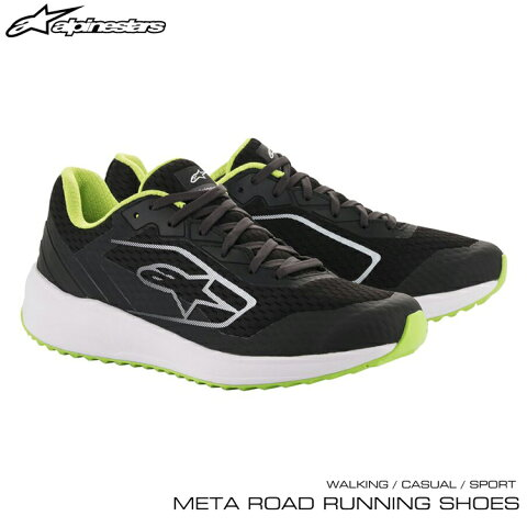 2020年NEWモデル! アルパインスターズ META ROAD RUNNING SHOES ブラック×ホワイト×グリーン(163) ウォーキング・カジュアル・スポーツシューズ (2654520-163)