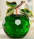 置物 小さなりんご クリスタル 枝葉付き (グリーン)