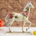 置物 白馬 バラ模様