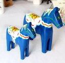 置物 お馬の親子 木製 エスニック模様 2個セット (ブルー) - モノッコ