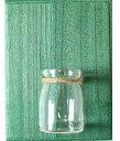 フラワーベース 壁掛け ガラス瓶 カントリー風 ウッディな木板付き (グリーン)