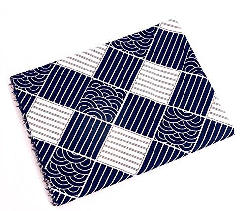 テーブルクロス マルチカバー 日本 伝統文様 粋 格子 青海波 (長方形A 100×140cm)