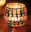 キャンドルホルダーカラフル手作り飴風装飾モザイクガラス(大サイズ1個)
