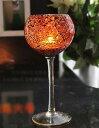 キャンドルホルダー ワイングラス型 モザイクガラス (琥珀色大)