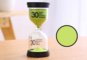 砂時計 30分計 ビタミンカラー 黒フタ 英文字 シンプル (グリーン)
