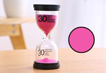 砂時計 30分計 ビタミンカラー 黒フタ 英文字 シンプル (ピンク)