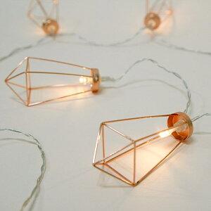 デコレーションライト LED 電球 ワイヤーオーナメント 金属製 10連 電池式 (A)