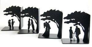 ブックエンド 木の下で成長するカップル 4個セット
