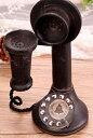 置物 アンティーク風 ダイヤル式 自動式卓上電話機模型 ブラック
