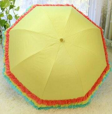 折り畳み傘 カラフルフリル フリフリ 晴雨兼用 (イエロー)