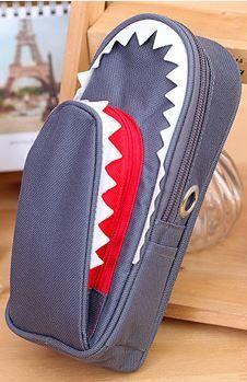 ペンケース サメ 鍵付き 大容量 (グレー)