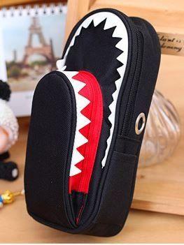 ペンケース サメ 鍵付き 大容量 (ブラック)