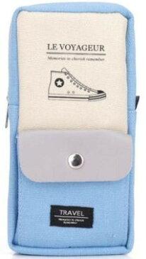 ペンケース パステルカラー シンプル スニーカー ポケット付き (ライトブルー)