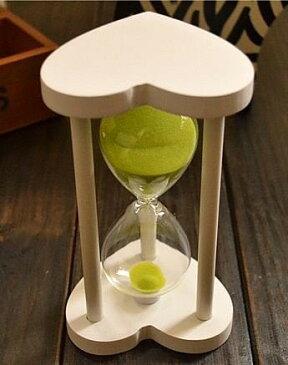 砂時計 30分計 ハート型木製枠 (白枠×ライトグリーン)