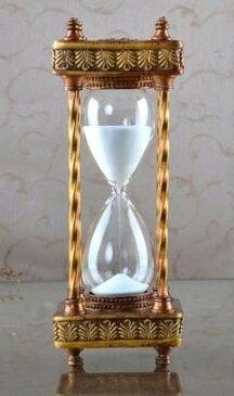 砂時計 30分計 ヨーロピアンアンティーク風 クラシカル (ブロンズ枠×白)