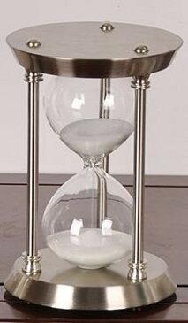 砂時計 30分計 ヨーロピアンアンティーク風 円柱型 (シルバー枠×ホワイト)