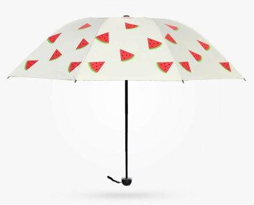 折り畳み傘 フルーツ柄 晴雨兼用 (スイカ)