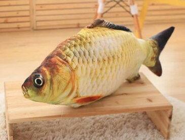 クッション リアル 魚 プリント ダイカット