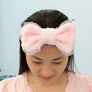 ヘアバンド 洗顔用 リボン付き レース (ライトピンク系)