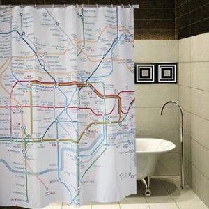 シャワーカーテン ロンドン 地下鉄マップ