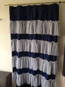 シャワーカーテン フリフリ フリル かわいい ラブリー (ネイビー×ホワイト)