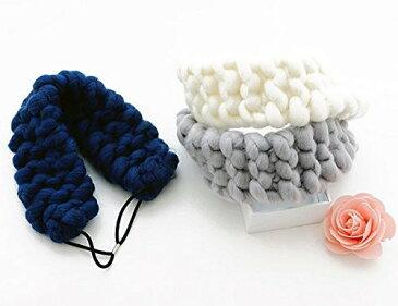 ヘアバンド モコモコ 編み編み 毛糸 幅広 (ライトグレー)