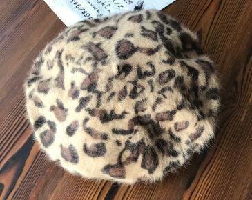 ベレー帽 レオパード 豹柄 かっこいい (ブラウン)