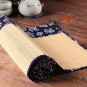 テーブルランナー 和モダン 花柄 和柄 竹製 紺色×ナチュラル (小 30×90cm) 【送料無料】