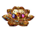 キャンドルホルダー 蓮の花 ガラス製 クリア (琥珀色)