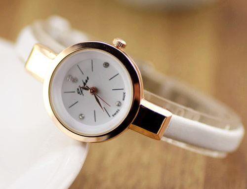 腕時計 おしゃれ 細身バンド 丸い文字盤 (ホワイト)
