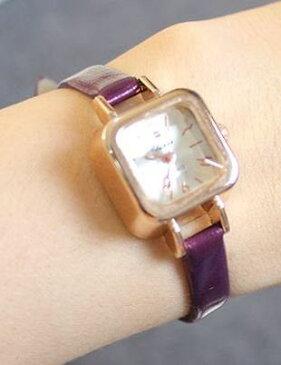 腕時計 クラシック 華奢バンド スクエア文字盤 (パープル)