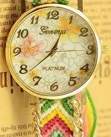腕時計 エスニック風 花柄の文字盤 編み編みベルト (B)