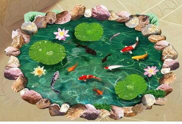ウォールステッカー すてきなお庭の池 鯉 カエル 蓮の葉 3D風