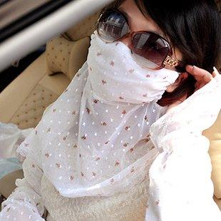 ショール マスク付き オーガンジー レース 2枚セット 小花柄 (ホワイト)