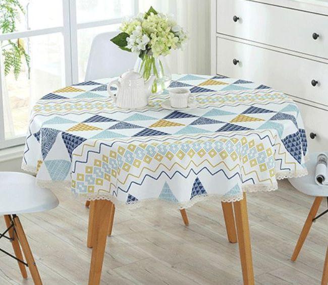 テーブルクロス 三角 なみなみ 爽やか 北欧風 レース付き 円形