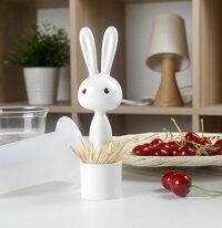 爪楊枝入れ長いお耳のうさぎ筒型プラスチック製(ホワイト)